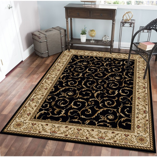 Admire Home Living Amalfi Scroll Black Oriental Rug (7'9 x 11') - 7'9 x 11'