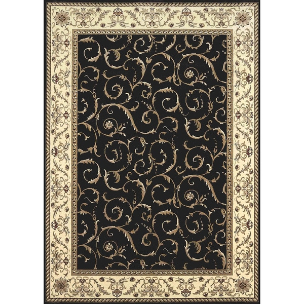 Admire Home Living Amalfi Scroll Black Oriental Rug 7 9 X