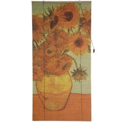 Handmade Bamboo 'Sunflowers' Window Blinds (60 in. x 72 in.) (China) - Thumbnail 2