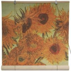 Handmade Bamboo 'Sunflowers' Window Blinds (60 in. x 72 in.) (China)