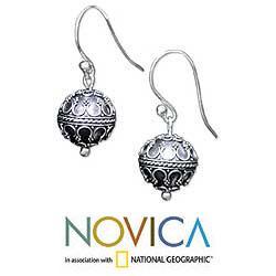 Sterling Silver 'Exotic Globe' Dangle Earrings (Indonesia) - Thumbnail 1