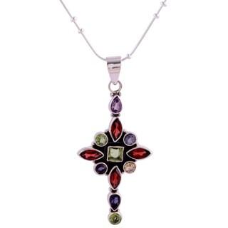 Handmade Sterling Silver 'Star Cross' Amethyst Garnet Pendant Necklace (India)