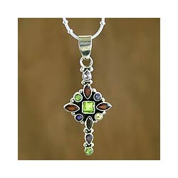 Handmade Sterling Silver 'Star Cross' Amethyst Garnet Pendant Necklace (India)