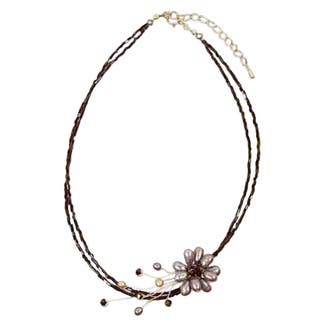 Handmade Stainless Steel 'Bouquet' Black Pearl Necklace (4-8 mm) (Thailand)|https://ak1.ostkcdn.com/images/products/5688325/P13431239.jpg?impolicy=medium