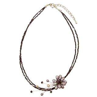 Handmade Stainless Steel 'Bouquet' Black Pearl Necklace (4-8 mm) (Thailand)