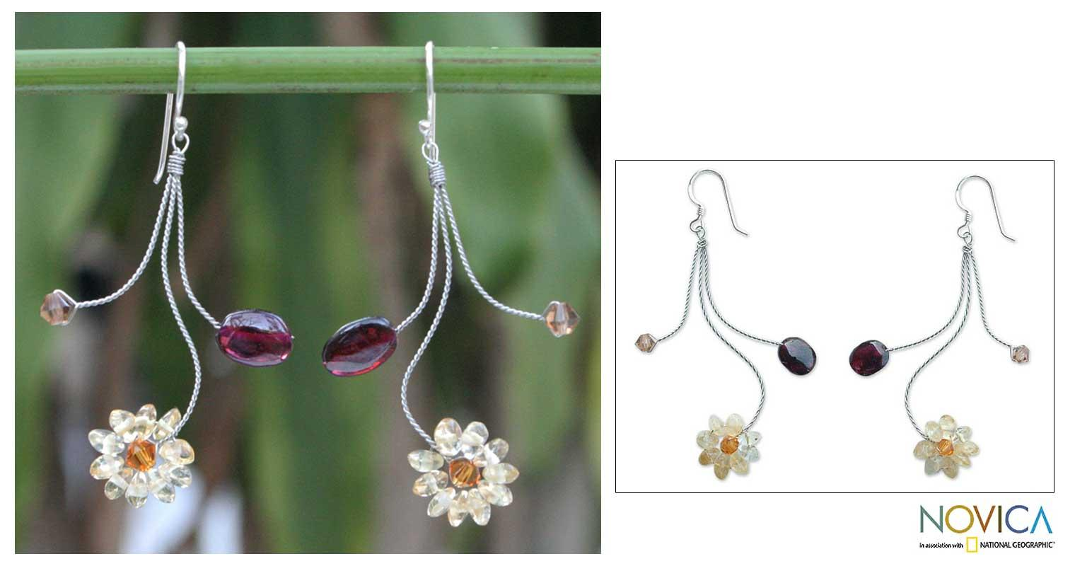 Handmade Stainless Steel 'Comet' Garnet Citrine Earrings (Thailand)