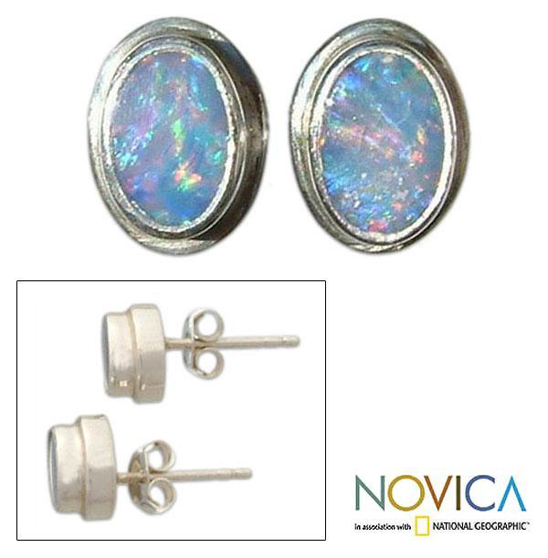 Sterling Silver 'Honesty' Opal Earrings (Indonesia)