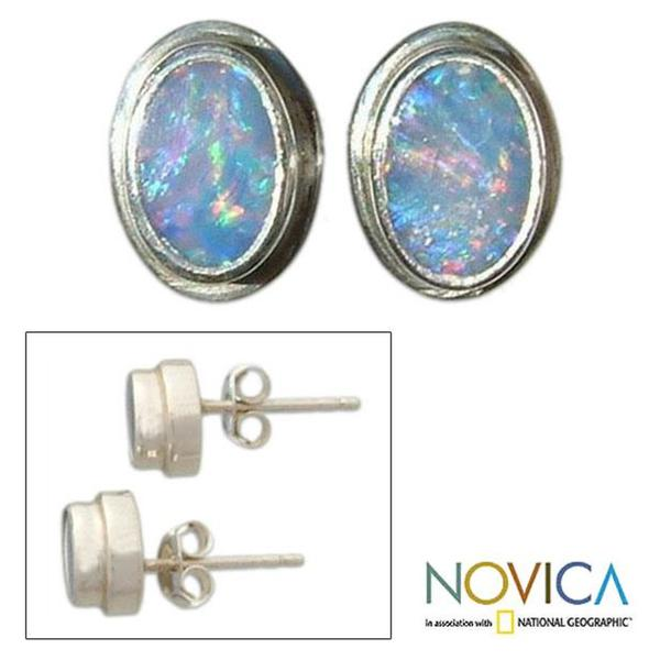 Handmade Sterling Silver 'Honesty' Opal Earrings (Indonesia)