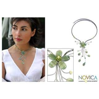 Handmade Stainless Steel 'Sea Green Forest' Quartzite Necklace (Thailand)|https://ak1.ostkcdn.com/images/products/5688338/P13431250.jpg?impolicy=medium