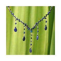 Handmade Stainless Steel 'Blue Empress' Lapis Lazuli Necklace (Thailand)