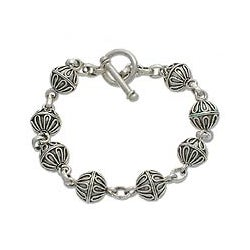 Sterling Silver 'Lace Baubles' Charm Bracelet (Indonesia)