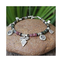 Sterling Silver 'Hill Tribe Colors' Tourmaline Bracelet (Thailand)
