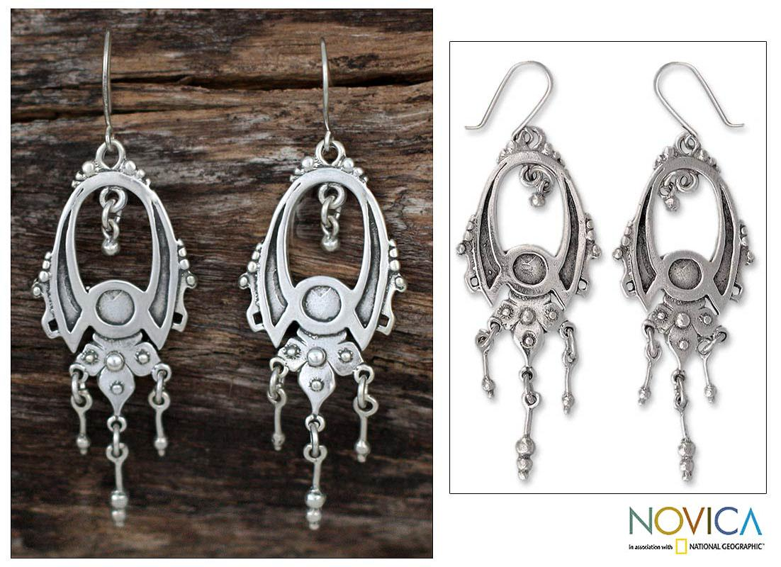 Handmade Sterling Silver 'Fortune' Earrings (Mexico)