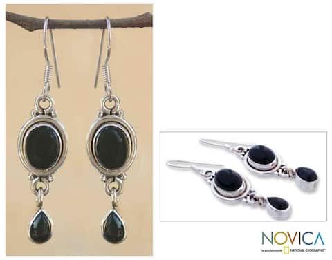 Sterling Silver Mystery Onyx Drop Earrings