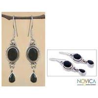 Handmade Sterling Silver 'Mystery' Onyx Drop Earrings (India)