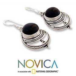 Handmade Sterling Silver 'Mystic' Onyx Earrings (India) - Thumbnail 1
