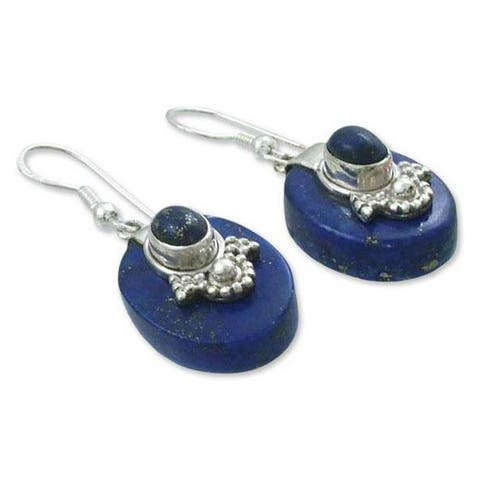 Handmade Sterling Silver Constellations Lapis Lazuli Earrings (India)