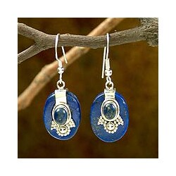 Sterling Silver 'Constellations' Lapis Lazuli Earrings (India)