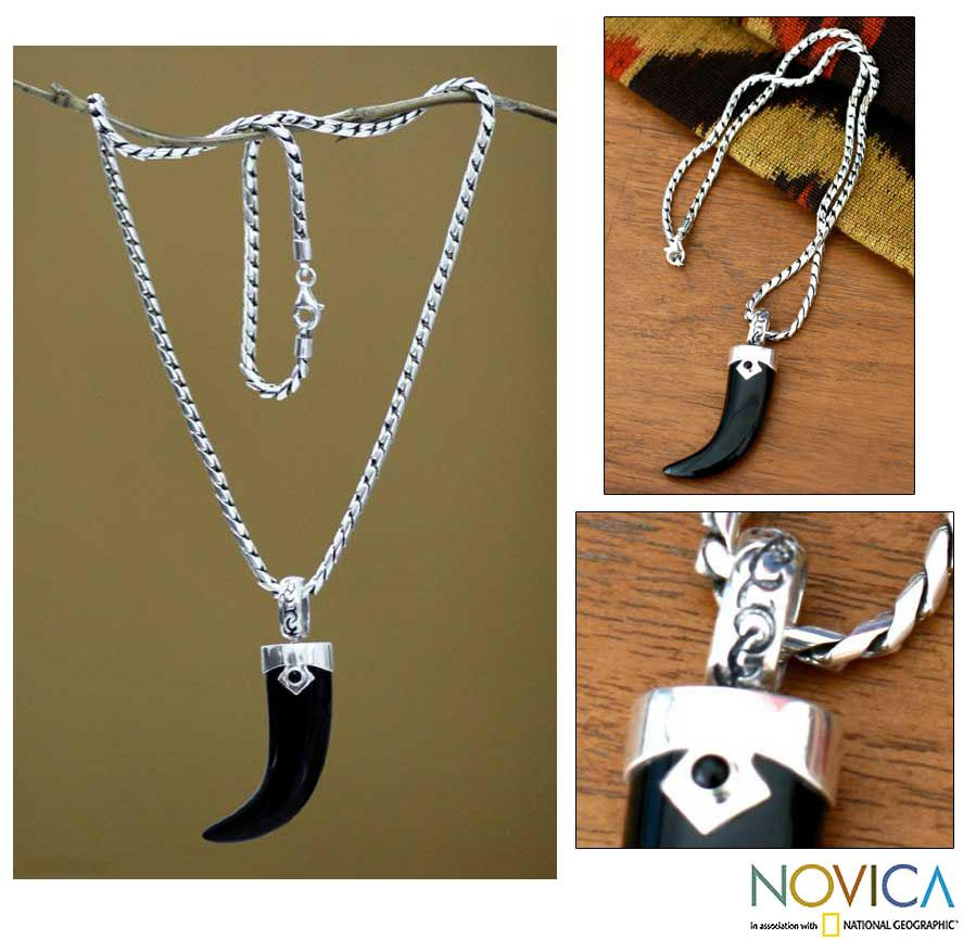 Talisman Handcrafted Polished Black Onyx Fang or Claw 925 Sterling Silver Snake Chain Mens Pendant Necklace (Indonesia)