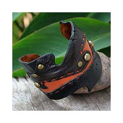Handmade 'Dark Chocolate' Leather Bracelet (Thailand)