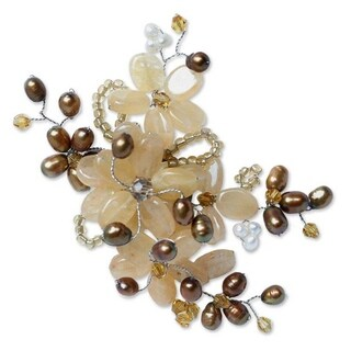 'Chrysanthemum' White Brown Pearl Brooch (6 mm) (Thailand)