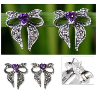 Handmade Sterling Silver 'Violet Heart' Marcasite Amethyst Earrings (Thailand)