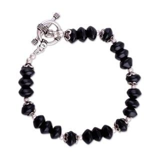 Sterling Silver 'Modern Mystery' Onyx Beaded Bracelet (India)