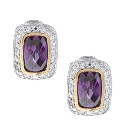 La Preciosa Sterling Silver Purple and Clear Cubic Zirconia Earrings