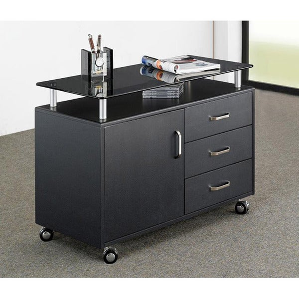 Simple Modern Home Office Toy Storage Cabinet W 3 Rolling Organizer Drawers