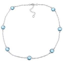 La Preciosa Sterling Silver Aqua Cubic Zirconia Link Necklace