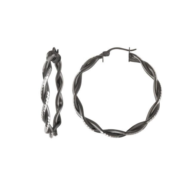 Mondevio Black Rhodium over Sterling Silver Diamond-cut Twist Hoop Earrings