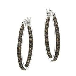 DB Designs Sterling Silver 2/5ct TDW Brown Diamond Hoop Earrings