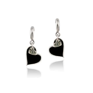 Glitzy Rocks Sterling Silver Marcasite and Onyx Heart Dangle Earrings