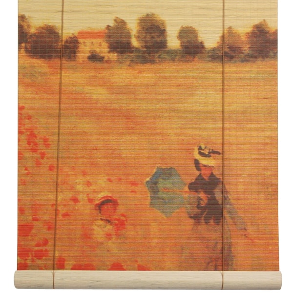 Handmade Bamboo 'Poppies' Window Blinds (60 in. x 72 in.) (China)