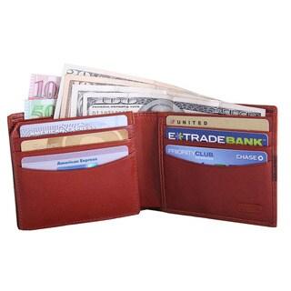 Leatherbay Men's Cognac Leather Bi-fold Wallet