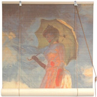 Handmade Bamboo 'Girl With a Parasol' Window Blinds (60 in. x 72 in.) (China)
