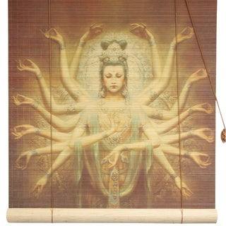 Handmade Bamboo Thousand Arm Kwan Yin Window Blinds (72 in. x 72 in.) (China)