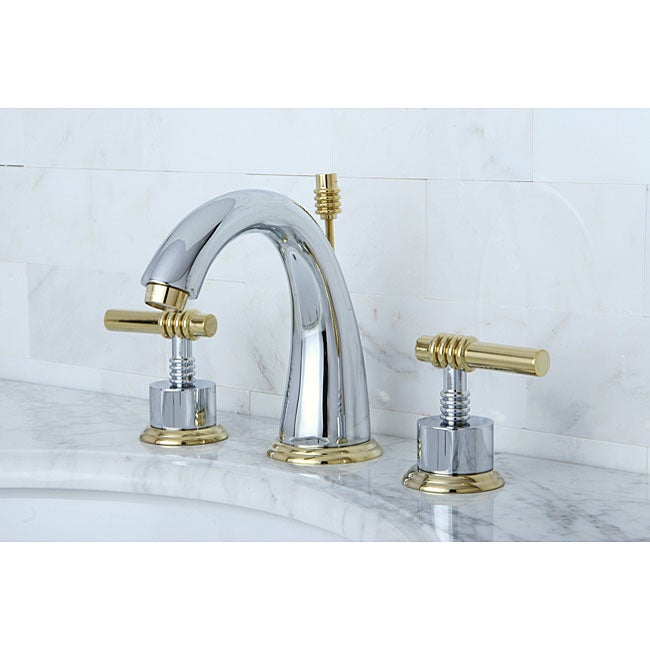 Bathroom Faucets Chrome : Milano Widespread Chrome/ Polished Brass Bathroom Faucet - Free ...