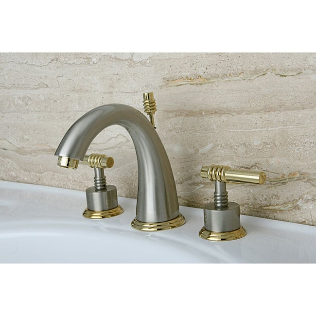 Milano Widespread Satin Nickel Polished Brass Bathroom Faucet 13431514
