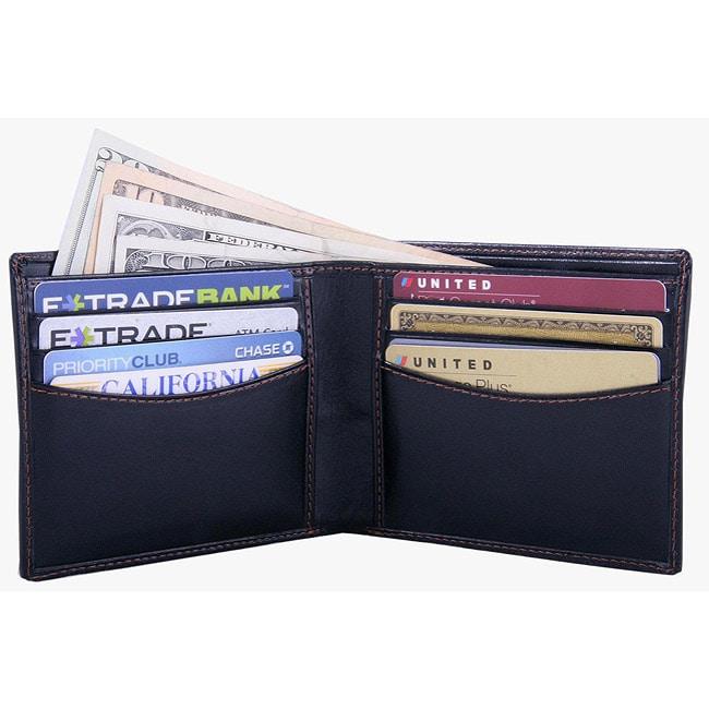 Leatherbay Men's Black Leather Bi-fold Wallet
