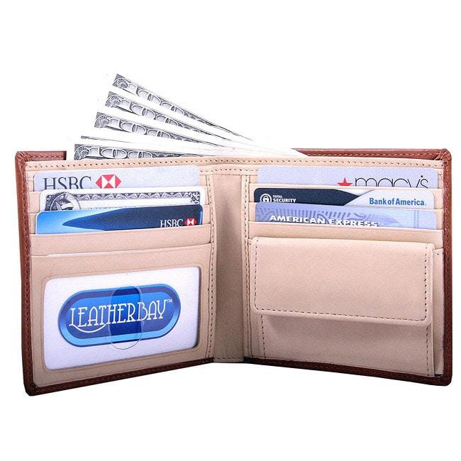 Leatherbay Men's Tan Bi-fold Coin Pocket Wallet