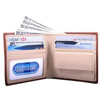 Leatherbay Men's Tan Bi-fold Coin Pocket Wallet