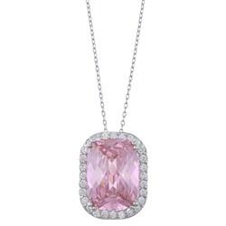 La Preciosa Sterling Silver Pink and Clear Cubic Zirconia Necklace