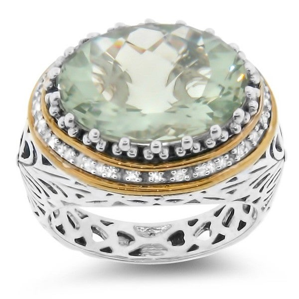 Meredith Leigh Silver Green Amethyst and 1/6ct TDW Diamond Ring (H-I, I2-I3)