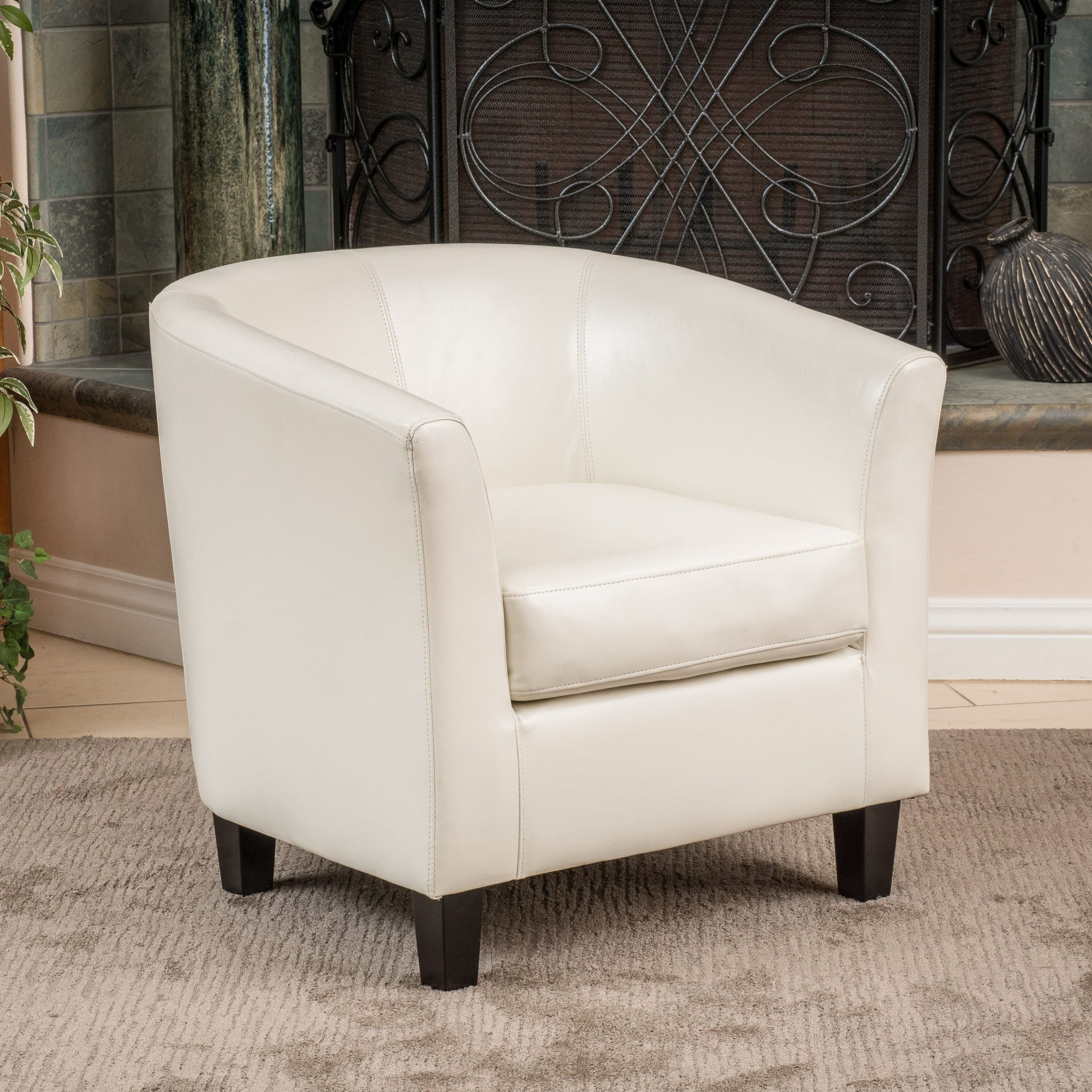 Preston Bonded Leather Ivory Club Chair by Christopher Kn...