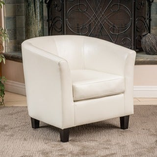 Preston Bonded Leather Ivory Club Chair by Christopher Knight Home