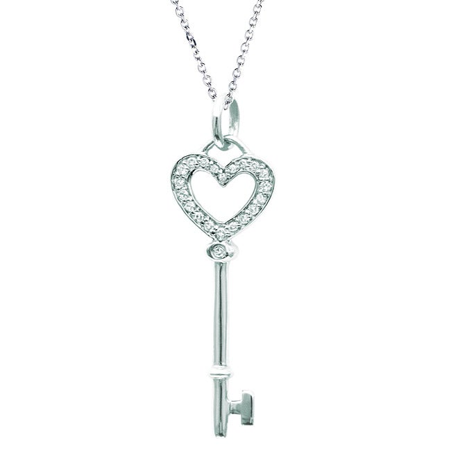 Sterling Silver Diamond Heart Key Necklace - Thumbnail 0