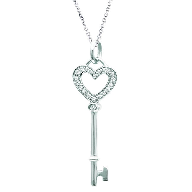Sterling Silver Diamond Heart Key Necklace