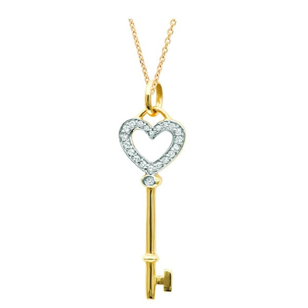 Sterling Silver and 14k Gold Diamond Heart Key Necklace