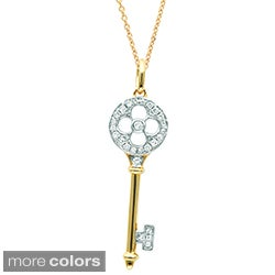 Sterling Silver/ 14k Gold 1/8ct TDW Diamond Clover Key Necklace